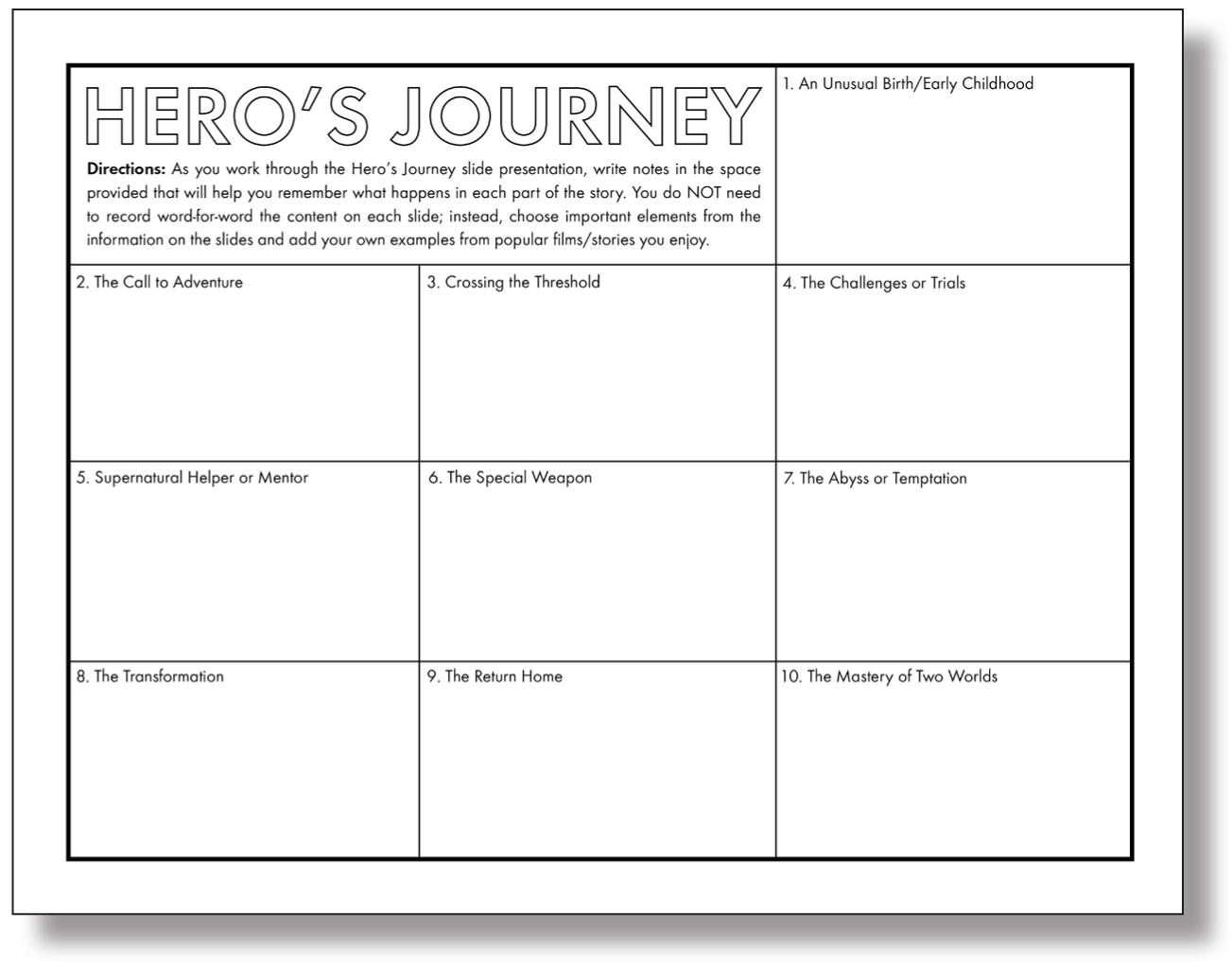 Heros journey worksheet