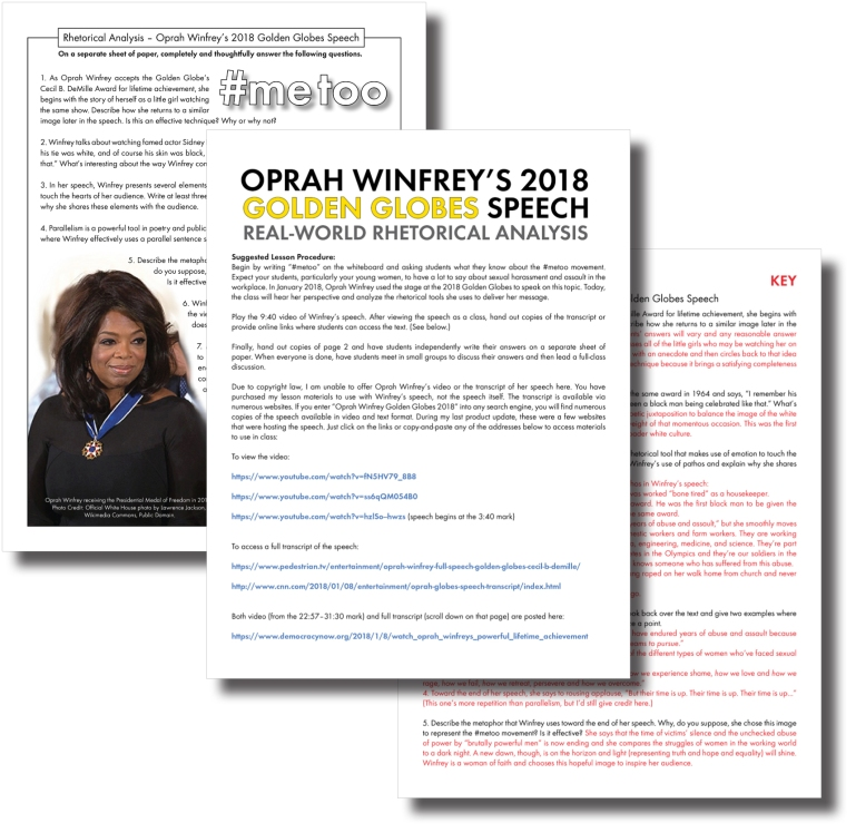 Oprah  Realworld Rhetorical Goodness  Laura Randazzo  Solutions  These Materials Can Serve As A Standalone Lesson Or As A Solid Supplement  To A Study Of Jim Crow Laws Or Satstyle Essay Prep Essay Writing High School also Persuasive Essay Topics For High School  Essay For High School Students